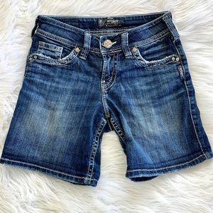 Silver Jeans Blue Denim Stretch Jean Shorts